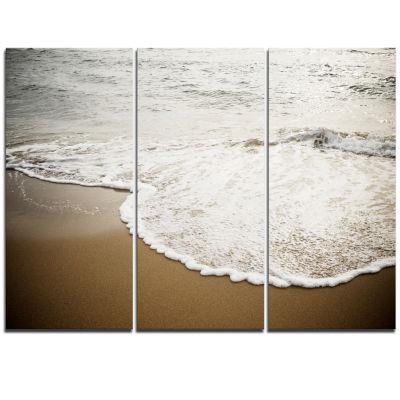 Designart Close Up Waves In Mediterranean Sea Seashore Triptych Canvas Art Print