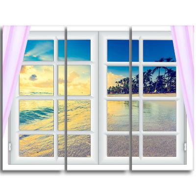Designart Closed Window To Ocean Sunset OversizedLandscape Wall Art Print