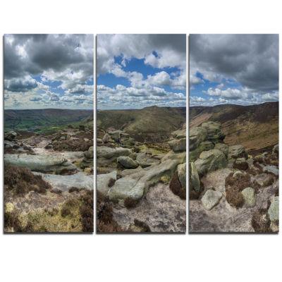 Designart Clouds And Stones Under Wild Clouds Landscape Artwork Triptych Canvas