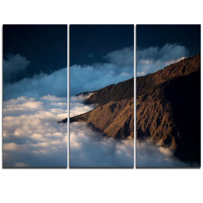 Designart Clouds At The Foot Of Hills ContemporaryLandscape Triptych Canvas Art