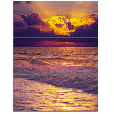 Designart Clouds In Bright Sunshine At Sunset Oversized Landscape Canvas Art - 3 Panels