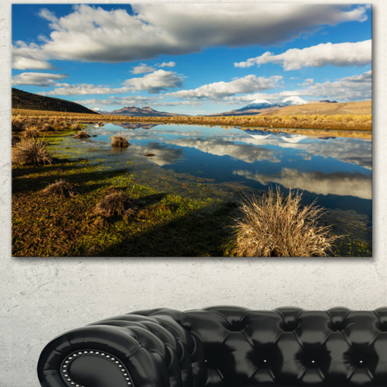 Designart Clouds Reflecting In Mountain Lake Oversized Landscape Canvas Art