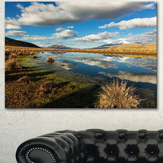 Designart Clouds Reflecting In Mountain Lake Oversized Landscape Canvas Art