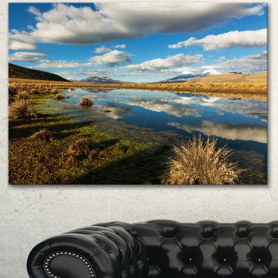 Designart Clouds Reflecting In Mountain Lake Oversized Landscape Canvas Art - 3 Panels
