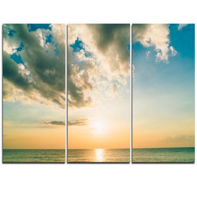Designart Clouds Together Over Blue Seashore Seascape Triptych Canvas Art Print
