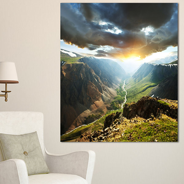 Designart Clouds Touching Mountains At Sunset Oversized Landscape Canvas Art