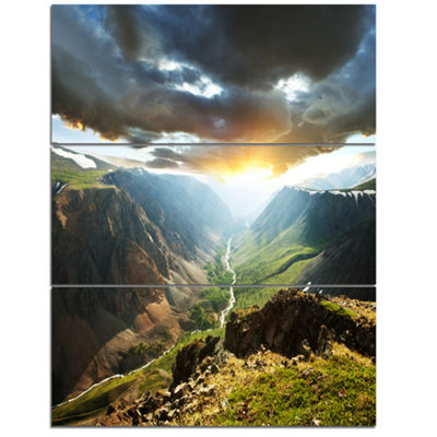 Designart Clouds Touching Mountains At Sunset Oversized Landscape Canvas Art - 3 Panels