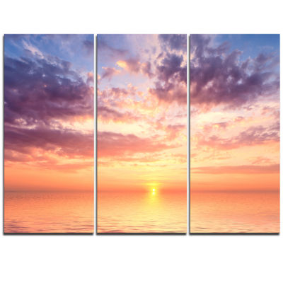 Designart Cloudy Blue Sky And Ideal Sunset Extra Large Seascape Art Triptych Canvas