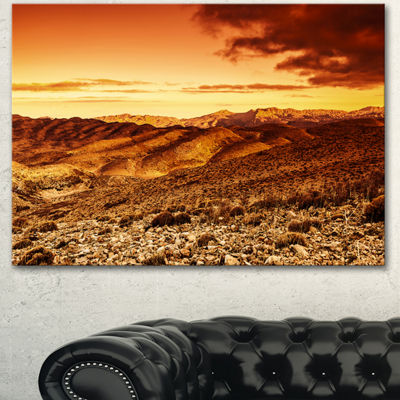 Designart Cloudy Dramatic Sunset In Desert Extra Large Landscape Canvas Art