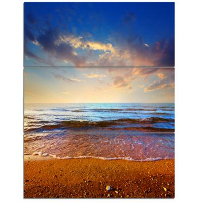 Designart Cloudy Skies With Vibrant Seashore Modern Beach Triptych Canvas Art Print