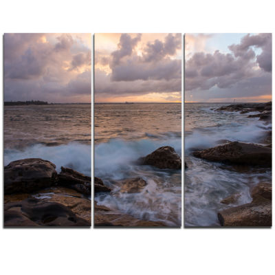Designart Cloudy Sky And Stormy Waves In Sydney Large Seashore Triptych Canvas Print