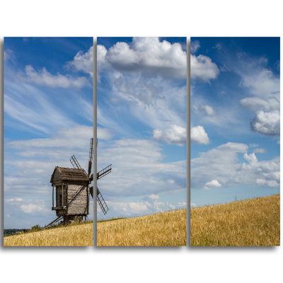 Designart Cloudy Sky And Windmill Summer Day Landscape Triptych Canvas Art Print