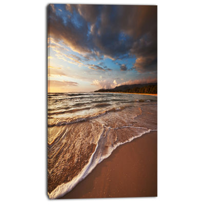 Designart Cloudy Sky Over Wide Seashore Large Seashore Canvas Print