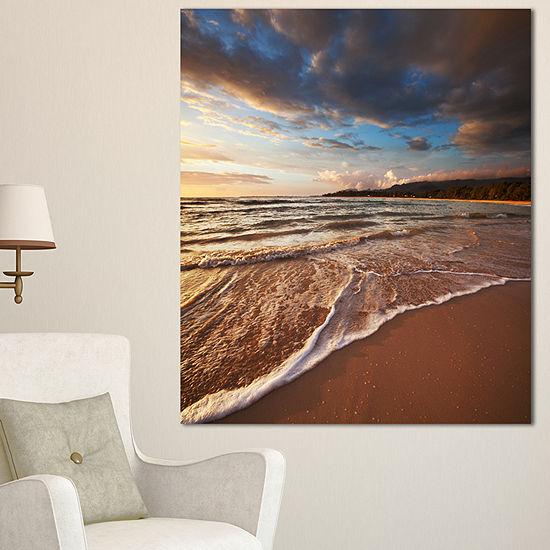 Designart Cloudy Sky Over Wide Seashore Large Seashore Canvas Print
