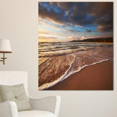 Designart Cloudy Sky Over Wide Seashore Large Seashore Canvas Print - 3 Panels