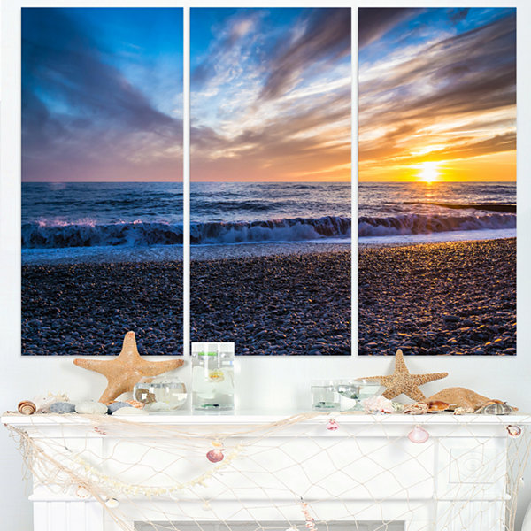 Designart Cloudy Sky With Bright Full Yellow SunBeach Photo Triptych Canvas Print