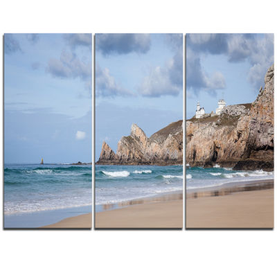 Designart Coastline With Lighthouse Panorama ExtraLarge Seashore Triptych Canvas Art