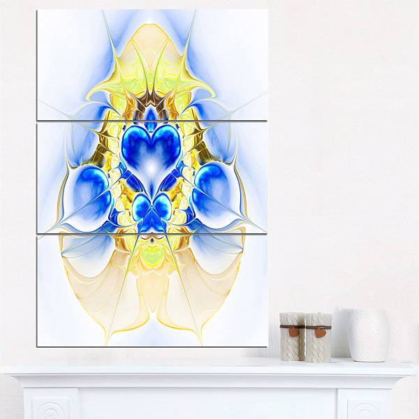 Designart Cold Extraterrestrial Fractal Heart BlueFloral Triptych Canvas Art Print