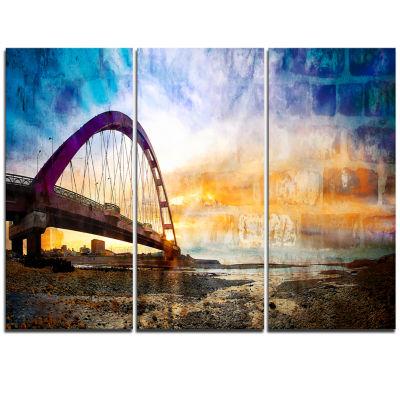 Designart Color Red Bridge Sunset Taiwan Modern Seascape Triptych Canvas Artwork