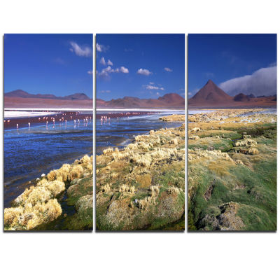Designart Colorada Lagoon And Pabellon Volcano Oversized Beach Triptych Canvas Artwork