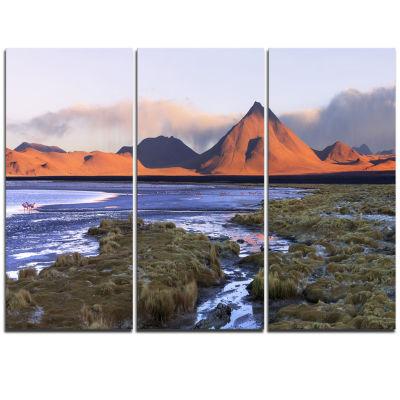 Designart Colorada Lagoon And Volcano Pabellon Landscape Triptych Canvas Art Print