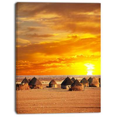 Designart Colorful African Village Huts View ExtraLarge Landscape Canvas Art