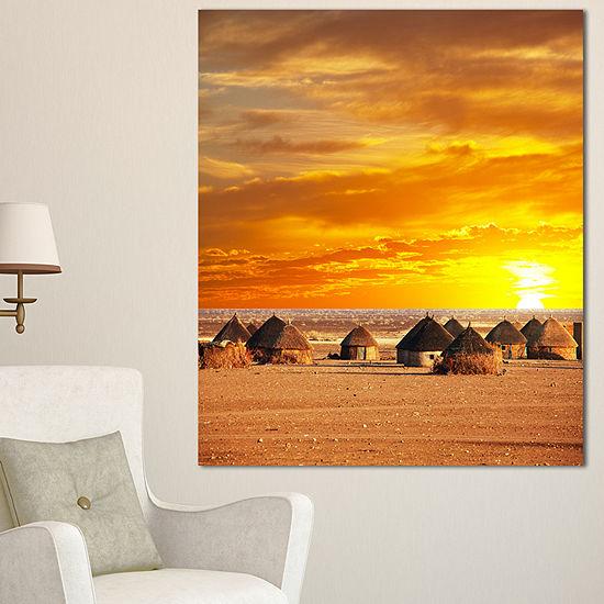 Designart Colorful African Village Huts View ExtraLarge Landscape Canvas Art