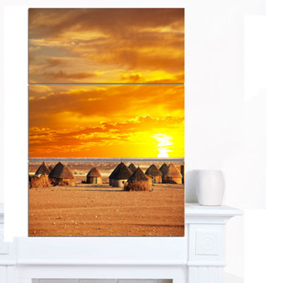 Designart Colorful African Village Huts View ExtraLarge Landscape Canvas Art - 3 Panels