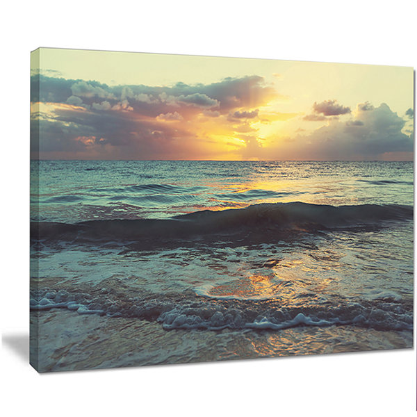 Designart Colorful Bluish Waters At Sunset Seascape Canvas Art Print