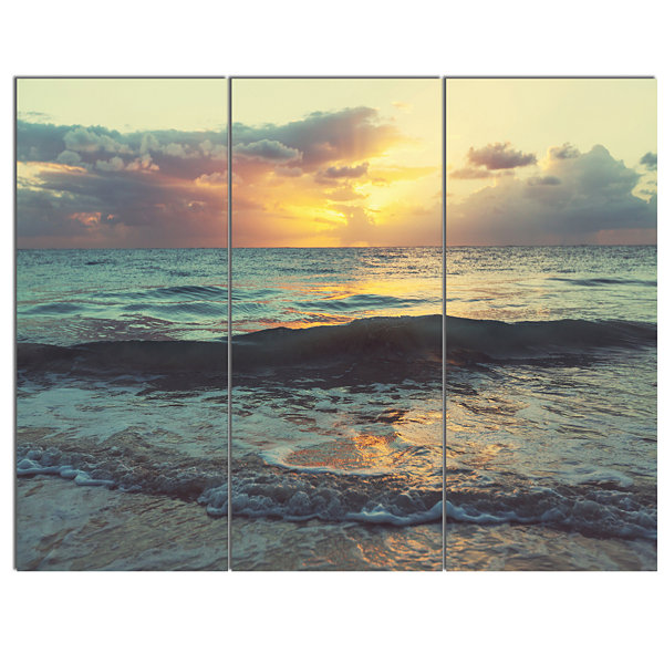Designart Colorful Bluish Waters At Sunset Seascape Canvas Art Print - 3 Panels