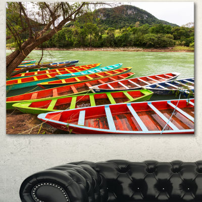 Designart Colorful Boats In Mexico Landscape Canvas Art Print - 3 Panels
