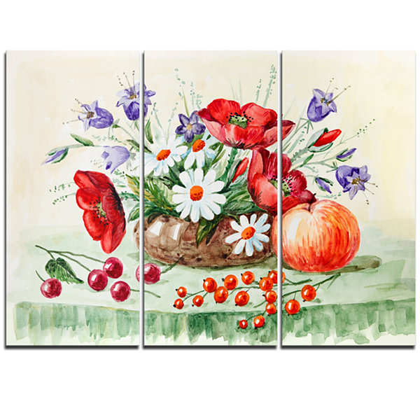 Design Art Colorful Bunch Of Flowers And Fruits Floral Art Triptych Canvas Print