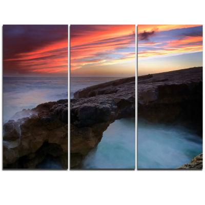 Designart Colorful Cabo Raso Seashore Portugal Seashore Triptych Canvas Art Print