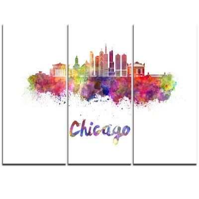 Designart Colorful Chicago Skyline In WatercolorCityscape Triptych Canvas Print