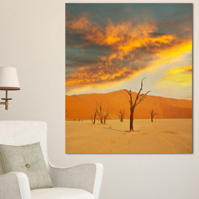 Designart Colorful Death Valley With Dry Trees African Landscape Canvas Art Print - 3 Panels