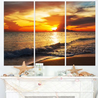Designart Colorful Dramatic Sunset Over Waves Modern Beach Triptych Canvas Art Print