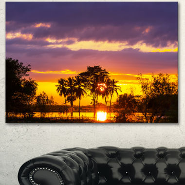 Designart Colorful Flooded Field At Sunset Landscape Wall Art On Canvas