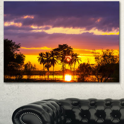 Designart Colorful Flooded Field At Sunset Landscape Wall Art On Canvas - 3 Panels