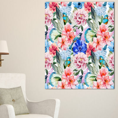 Designart Colorful Flowers And Birds Watercolor Large Flower Canvas Wall Art