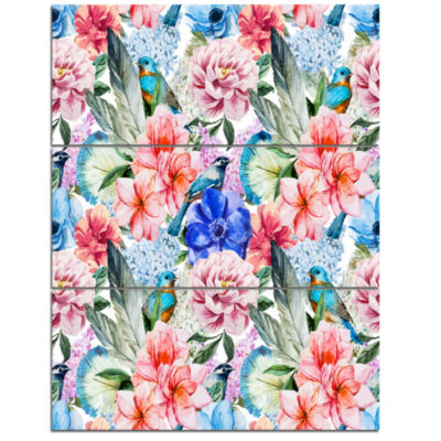 Designart Colorful Flowers And Birds Watercolor Large Flower Triptych Canvas Wall Art