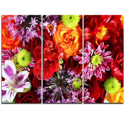 Designart Colorful Flowers Background Large FloralWall Art Triptych Canvas