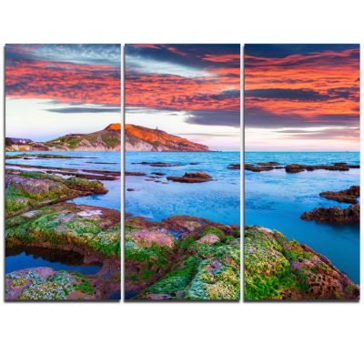 Designart Colorful Giollonardo Beach Sunset ModernSeashore Triptych Canvas Art