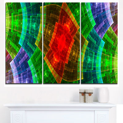 Designart Colorful Psychedelic Fractal Metal GridAbstract Wall Art Triptych Canvas