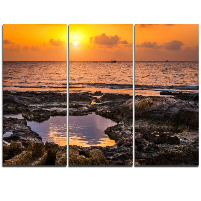 Designart Colorful Rocky Coast At Sunset OversizedBeach Triptych Canvas Artwork