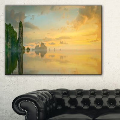 Designart Colorful Sky And Board On Beach Large Seascape Art Canvas Print