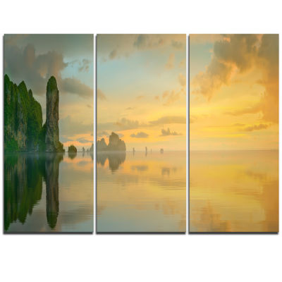 Designart Colorful Sky And Board On Beach Large Seascape Art Triptych Canvas Print