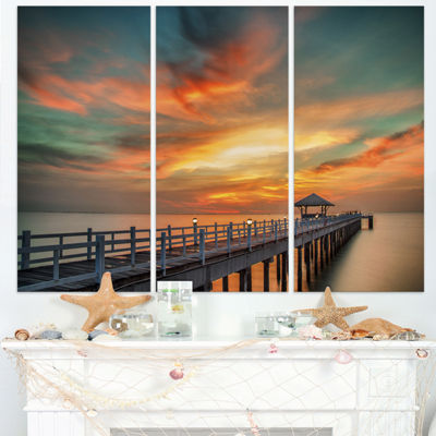 Designart Colorful Sky And Long Wooden Pier PierTriptych Canvas Art Print