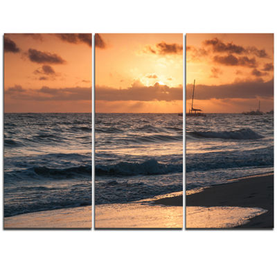 Designart Colorful Sunrise Over Atlantic Ocean Beach Photo Triptych Canvas Print