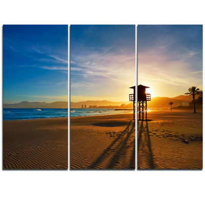 Designart Colorful Sunset In Valencia Modern BeachTriptych Canvas Art Print