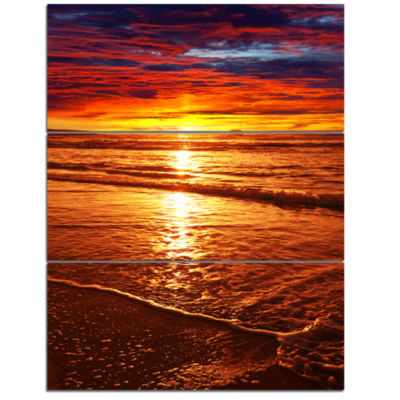Designart Colorful Sunset Mirrored In Waters Modern Beach Triptych Canvas Art Print